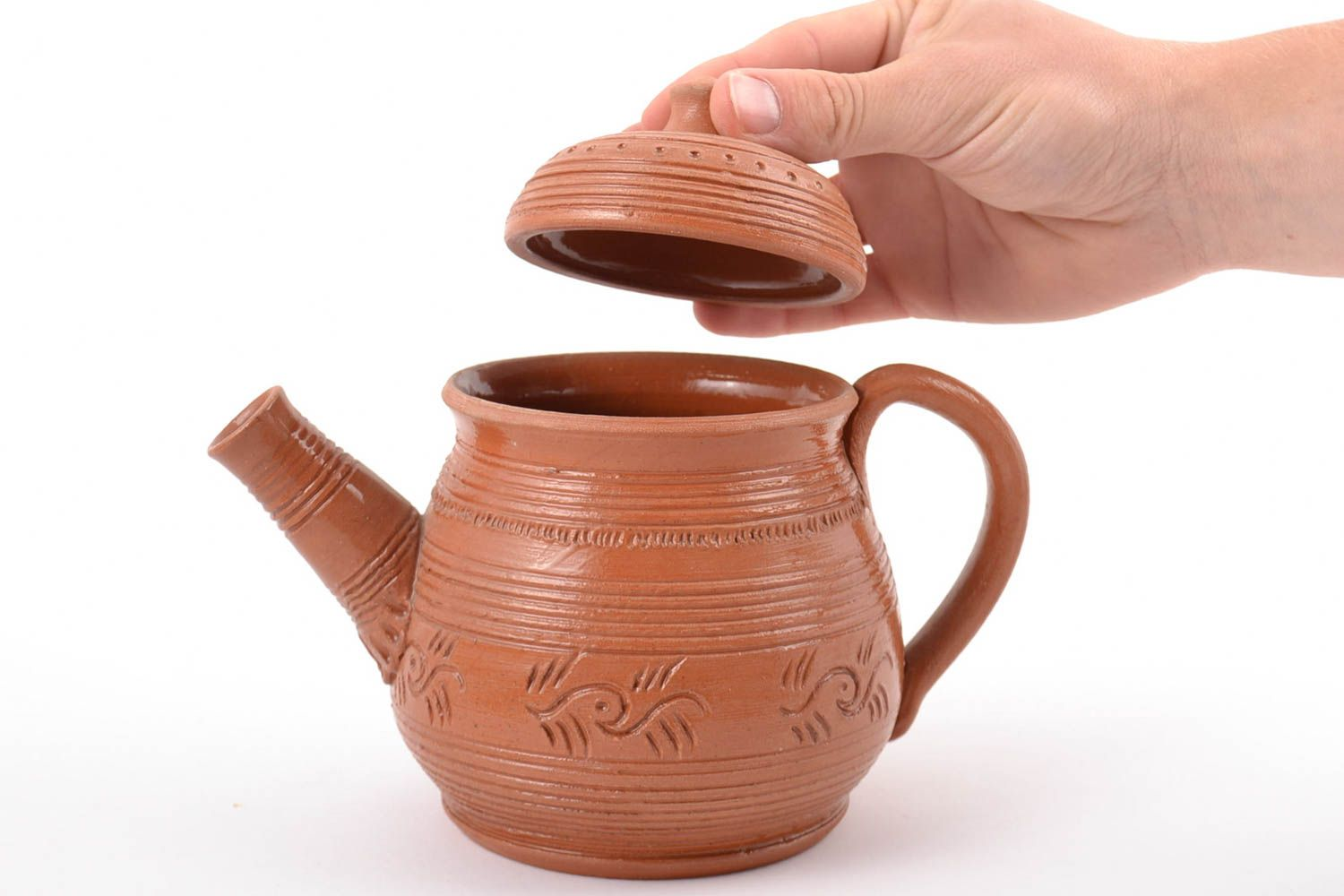 tea pots and coffee pots Homemade designer ceramic teapot with pattern 600 ml - MADEheart.com