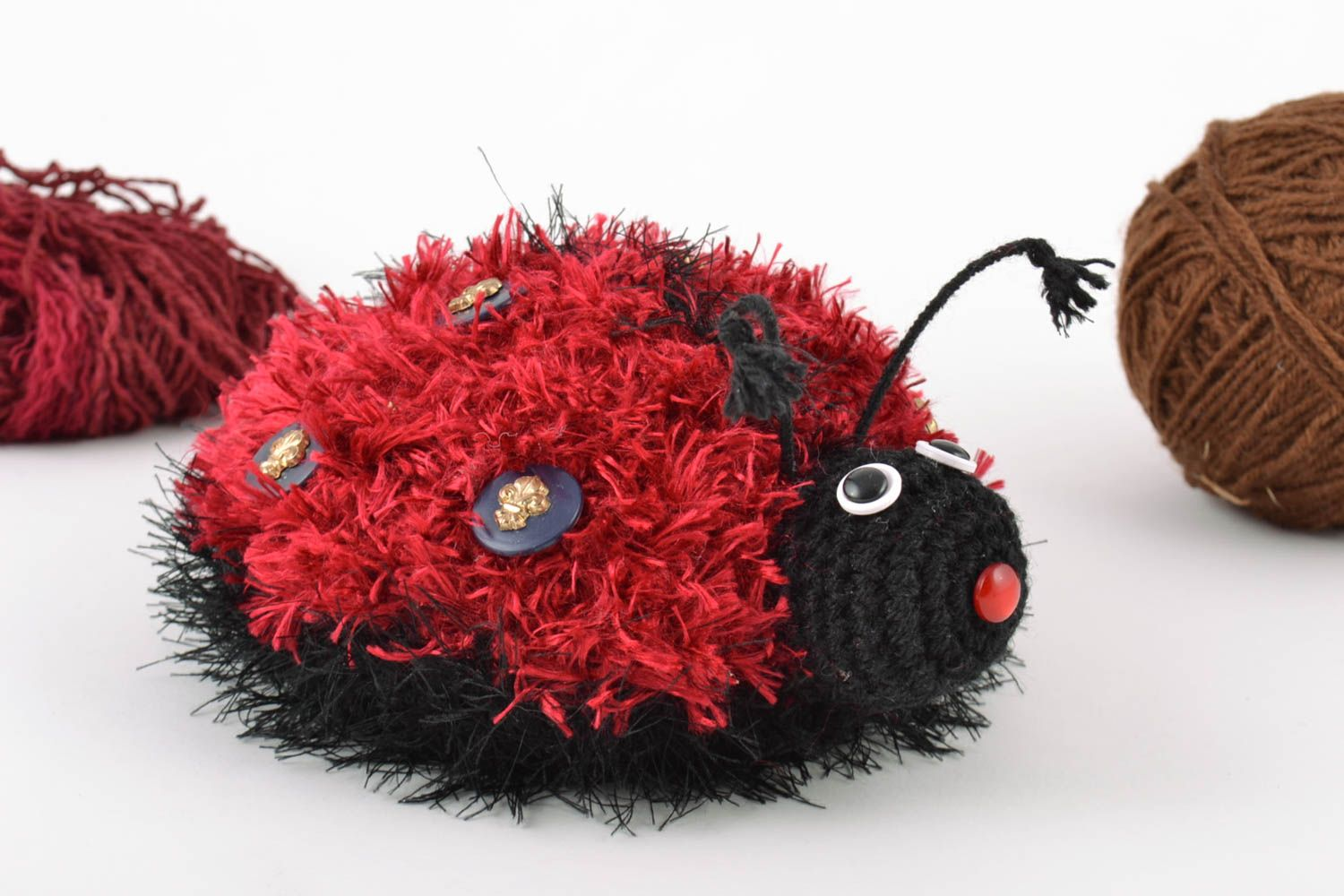 knitted toys Handmade soft crochet wool toy for children beautiful Ladybug amigurumi - MADEheart.com