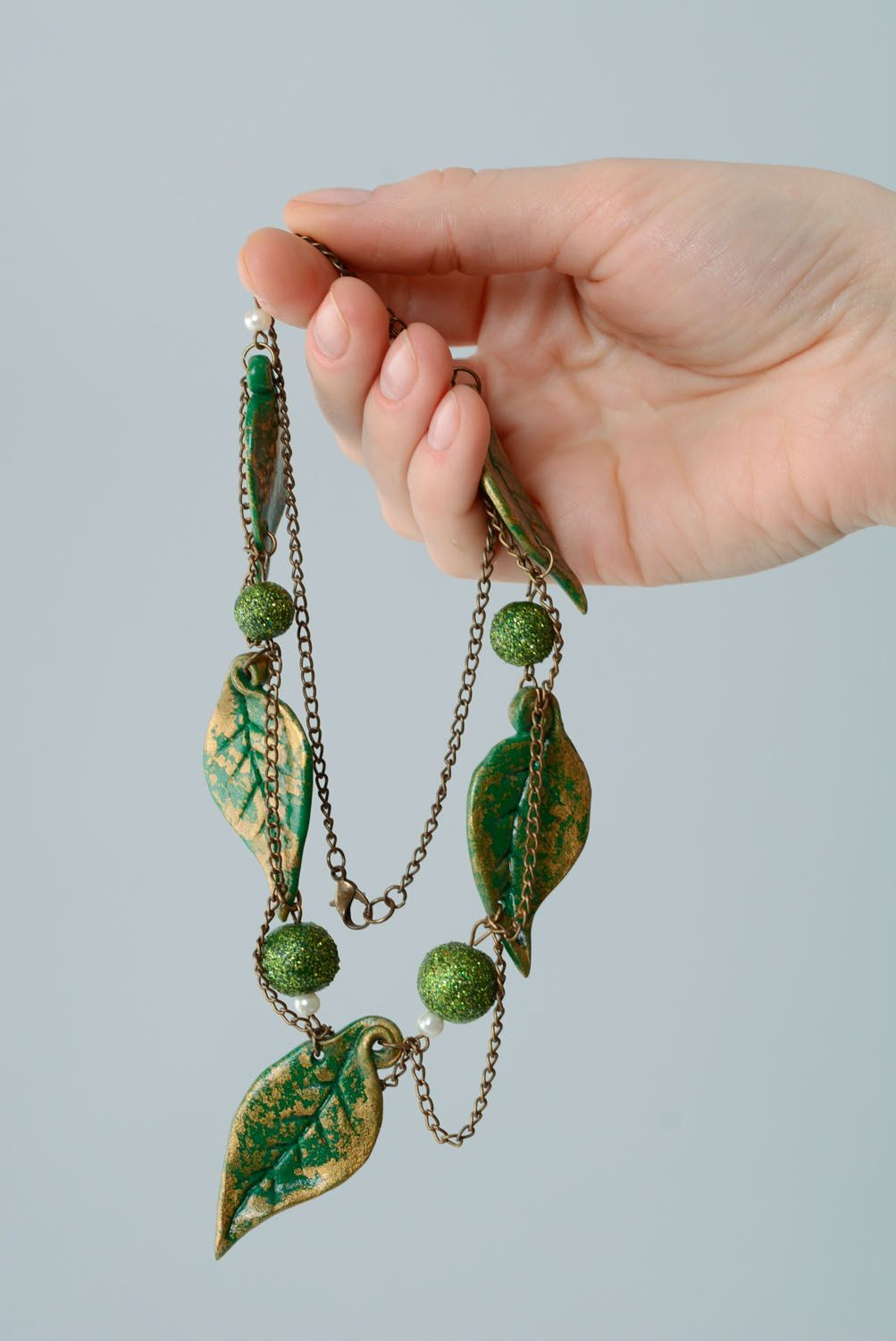 Necklace with polymer clay beads photo 4