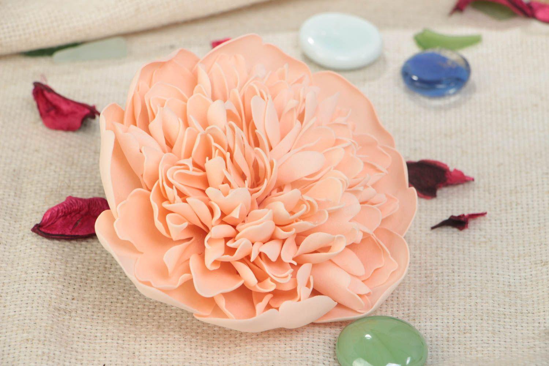 Zarte rosa Blumen Brosche aus Foamiran schön für Frauen künstlerische Handarbeit foto 1