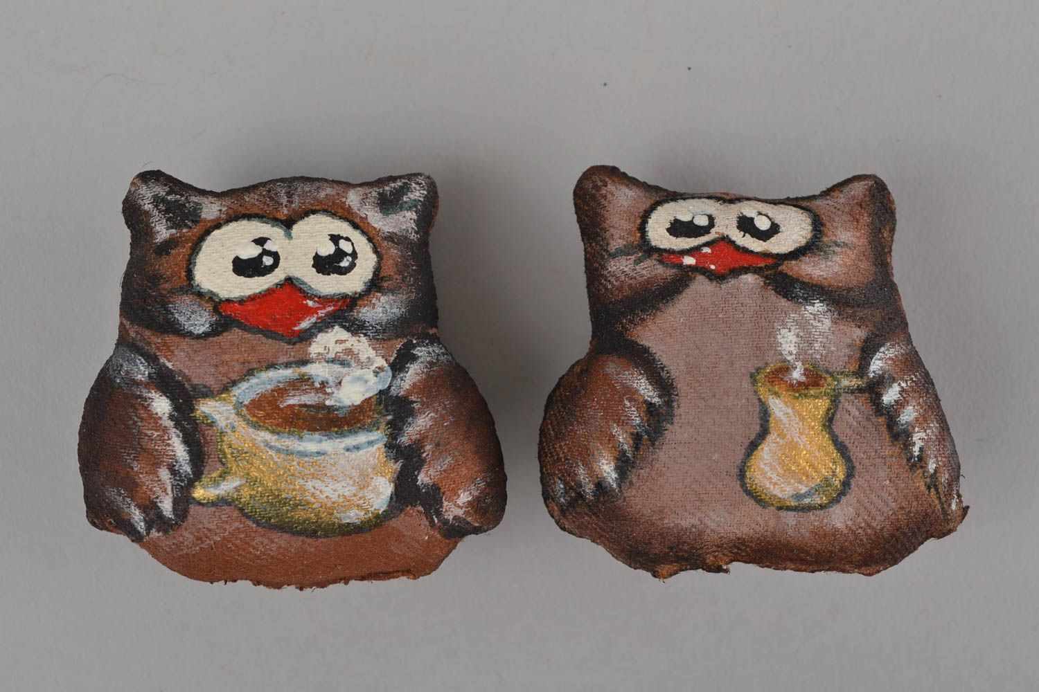 Set of handmade designer flavored fabric soft fridge magnets 2 pieces Owls photo 1