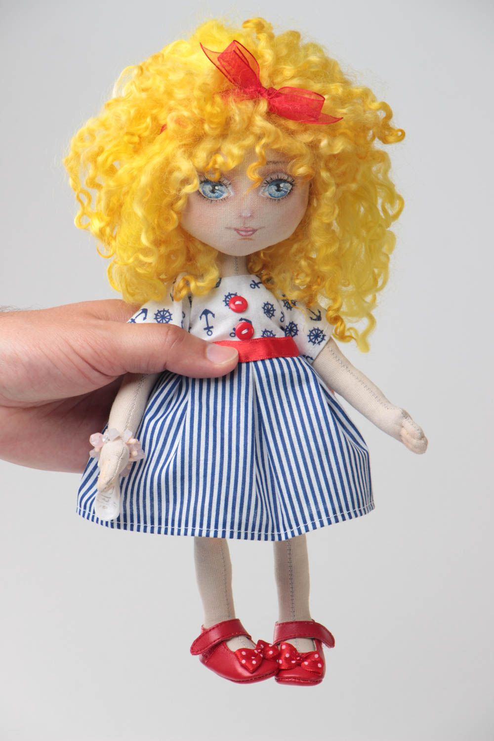 Handmade designer small fabric soft doll in blue striped dress and red shoes photo 5