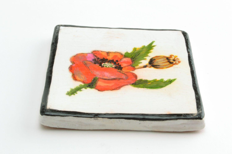 Homemade ceramic fridge magnet Poppy photo 4