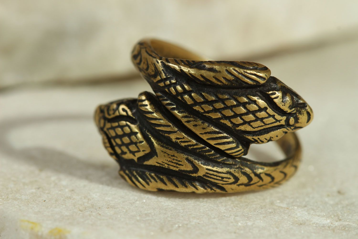 Handmade bronze ring Two Cobras photo 1