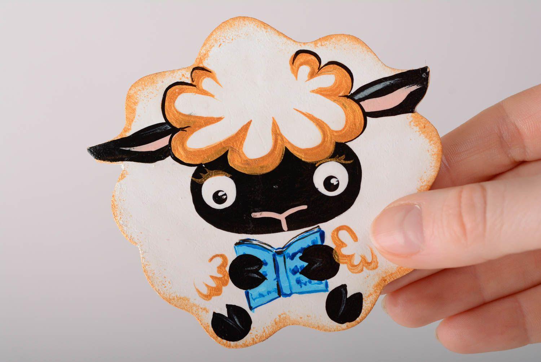 Handmade decorative painted plywood fridge magnet Lamb with book kitchen decor photo 5