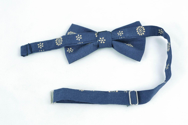 Nœud Papillon Fait Main En Coton Avec Dessin Couleur Bleu Foncé Avec Dessin