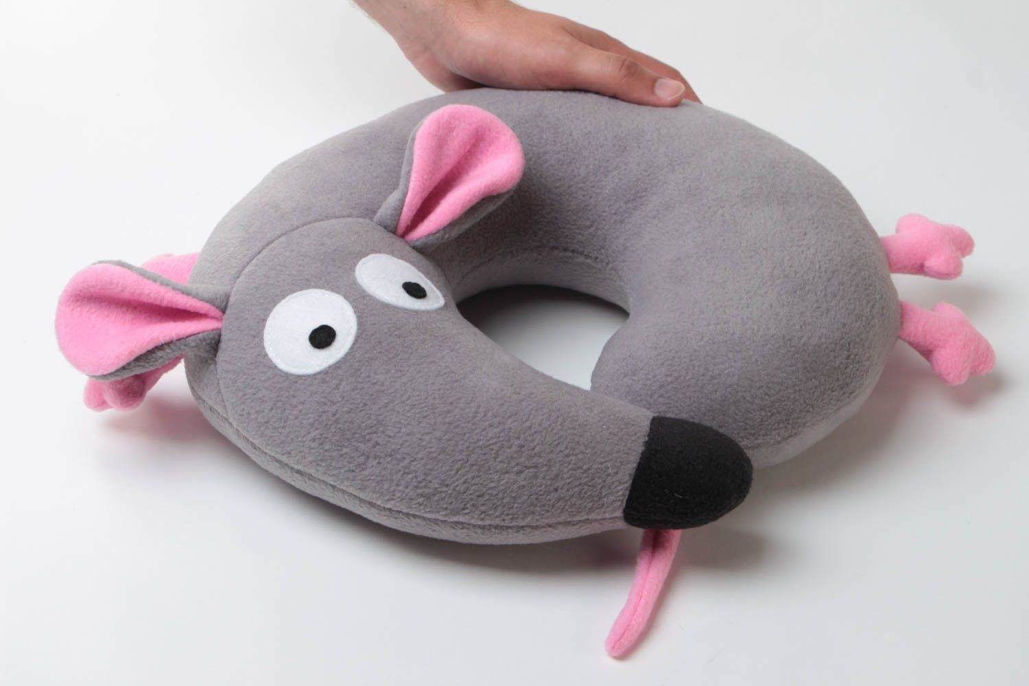 Small handmade travel pillow funny soft pillow pet Gray Mouse photo 6