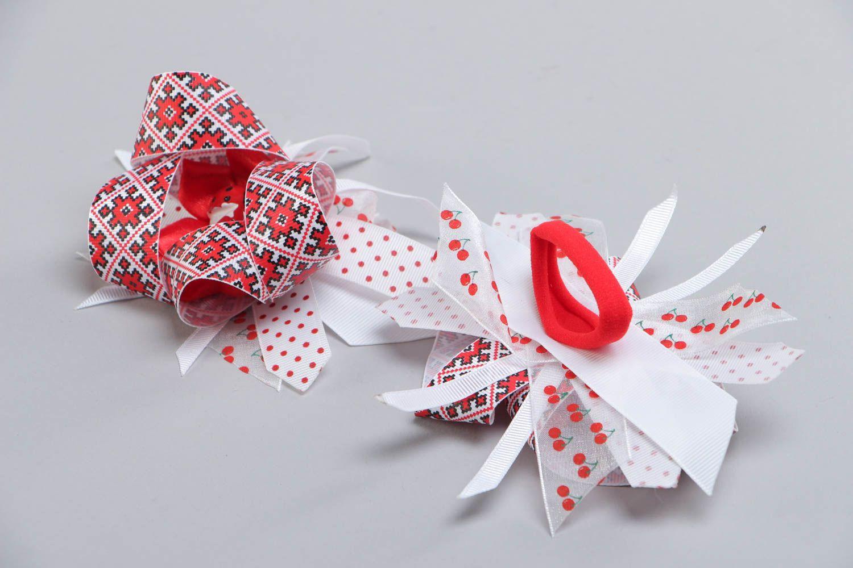 Set of handmade kanzashi satin fabric hair ties 2 pieces for girl photo 4