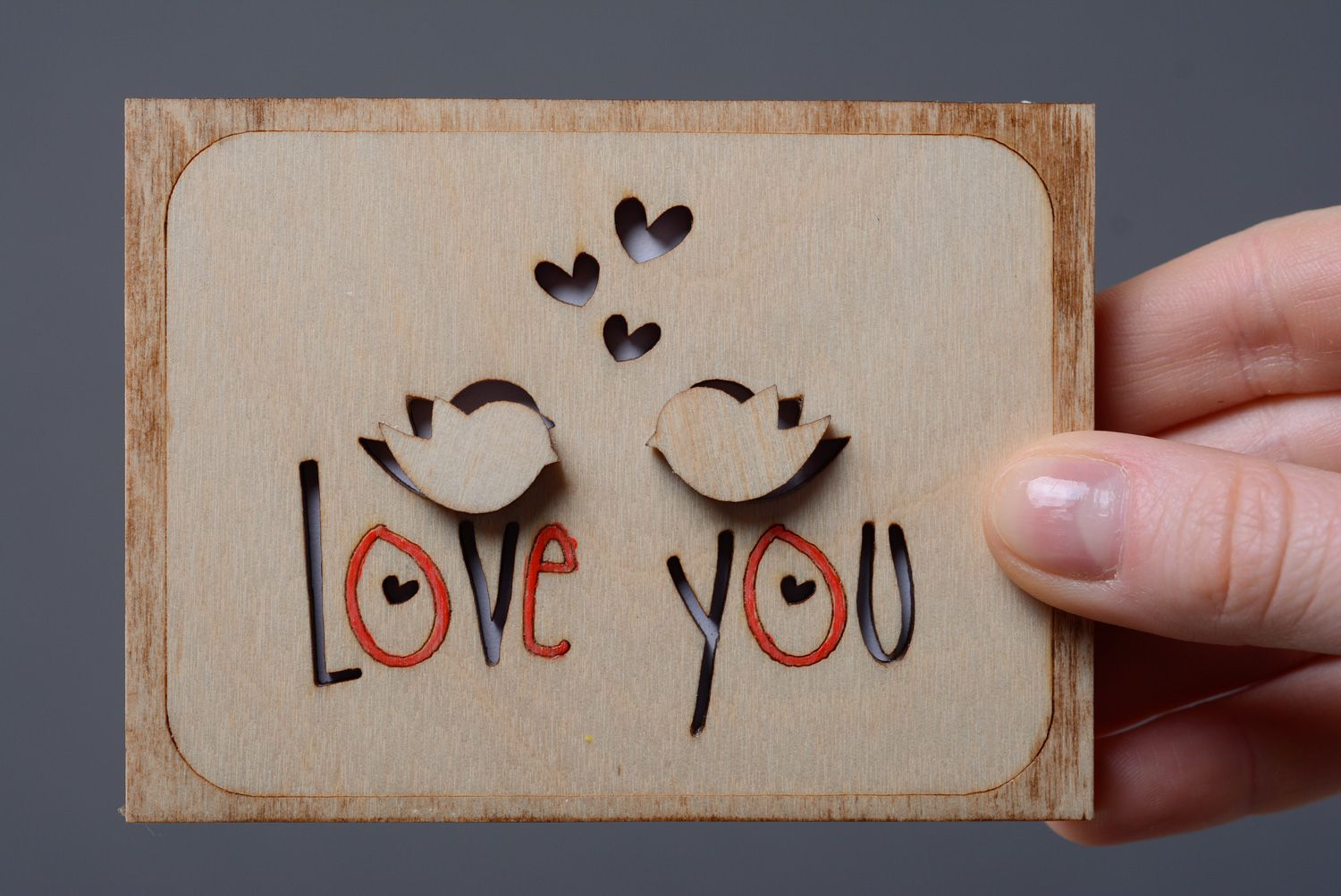 Wooden St. Valentine's day greeting card photo 4
