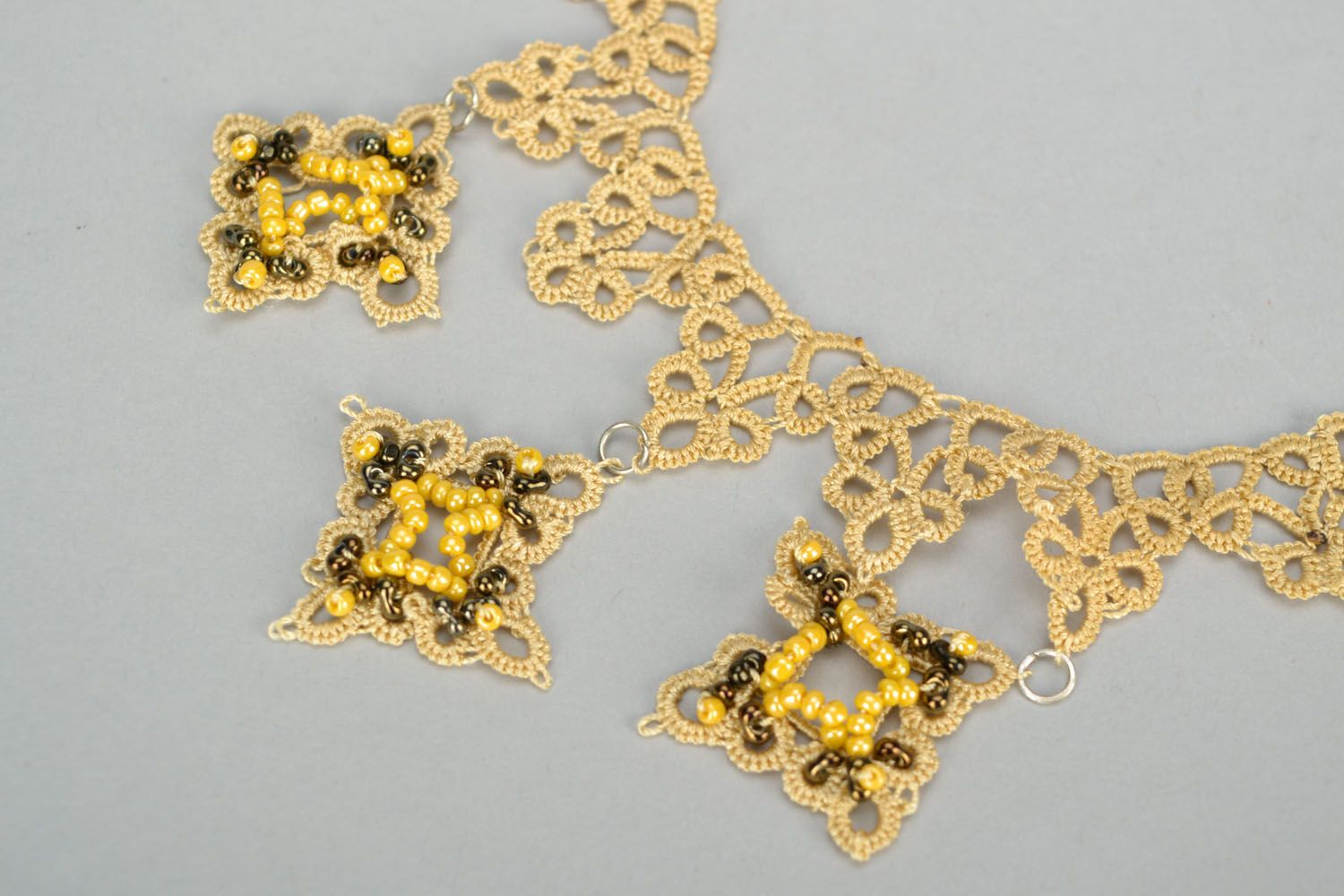 Homemade tatting necklace photo 2