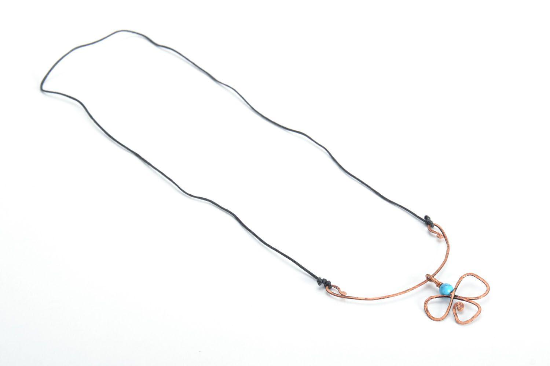 Pendentif en cuivre wire wrapping avec turquoise  photo 3