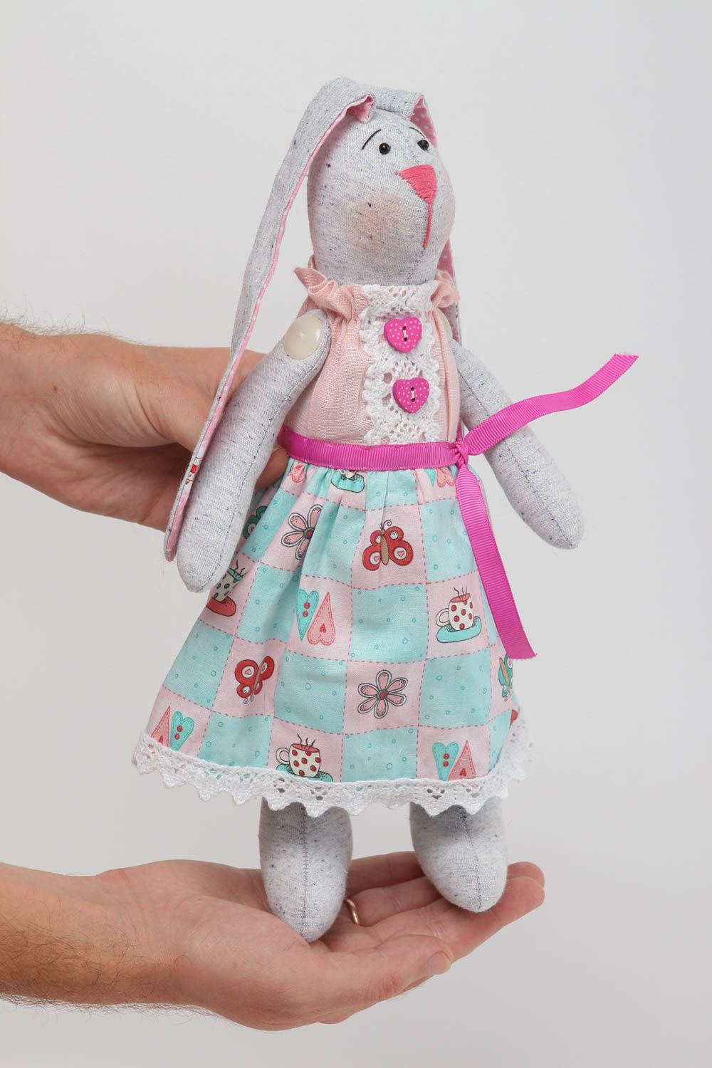 Handmade toy soft hare toy handmade hare toy fabric hare cotton toy linen toy photo 5
