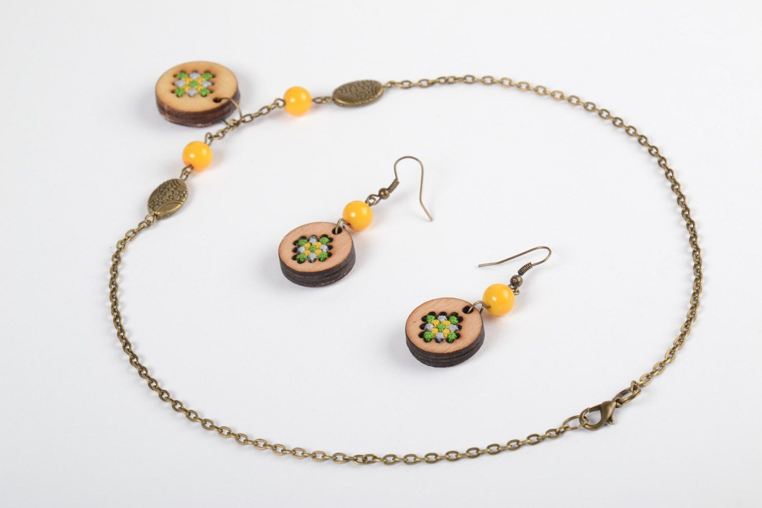 Handmade plywood jewellery round earrings and pendant with embroidery in ethnic style photo 4