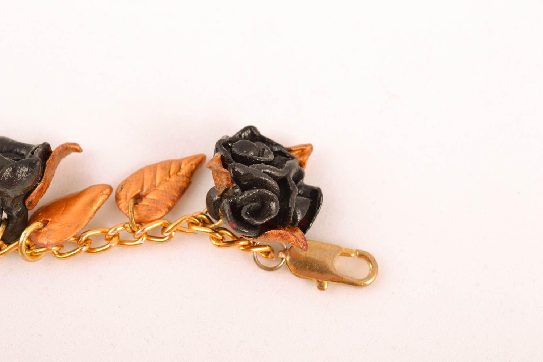 Damen Armband aus Polymerton Schwarze Rosen foto 3