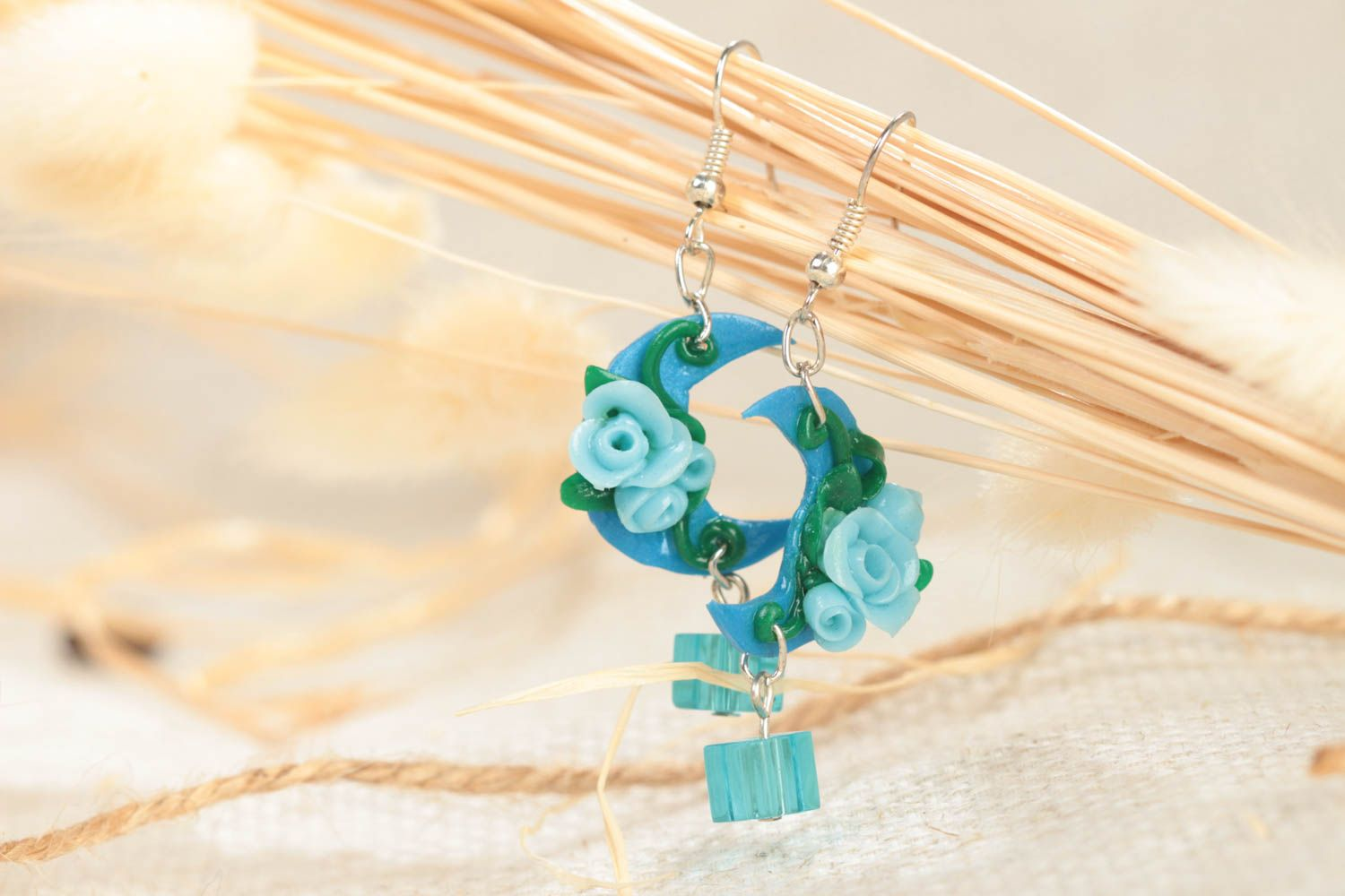 Handmade long polymer clay dangling earrings in blue color palette Moon Light photo 1