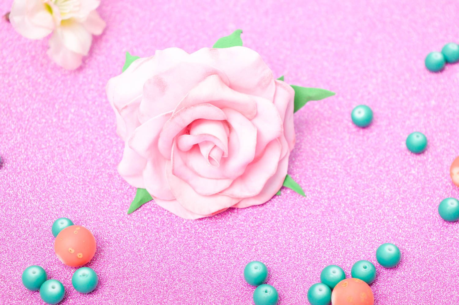 Handmade hairpin with flower foamiran hairpin hair accessories for women photo 1