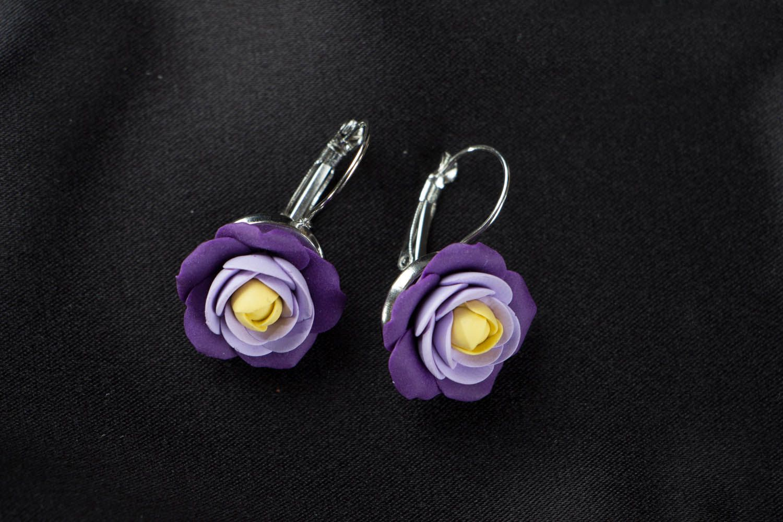 Handmade purple earrings  photo 1