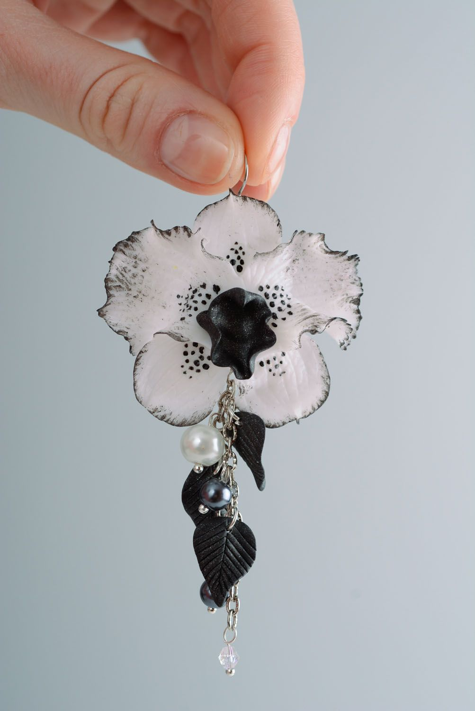 Homemade long earrings Black Orchid photo 3