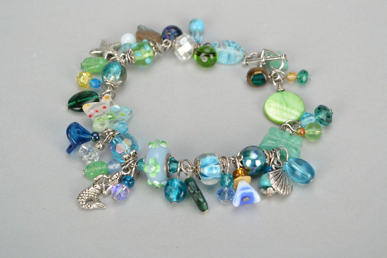 Lampwork bracelet in marine style photo 1