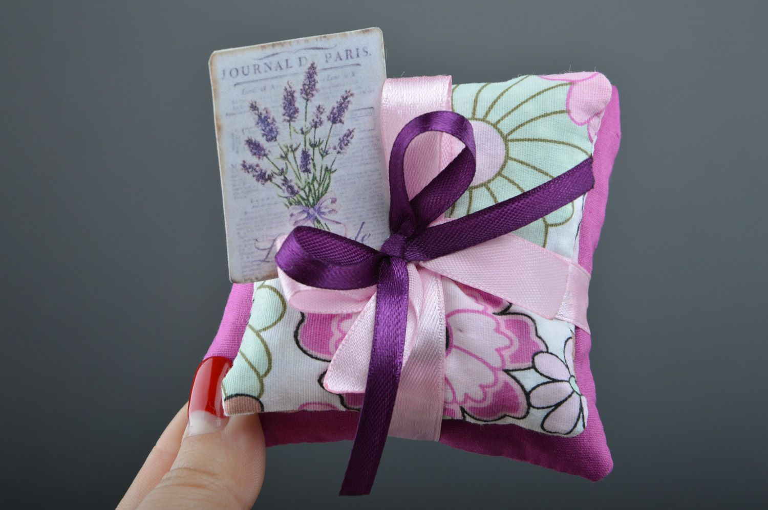 Tender handmade sachet pillows sewn of fabric with ribbons with mint Lilac  photo 4