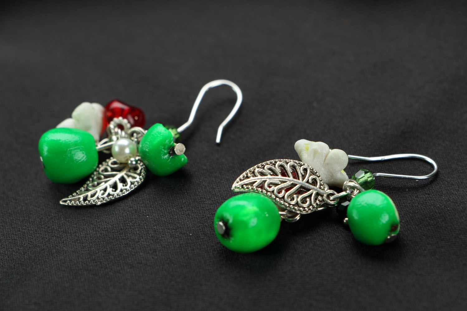 Bright earrings with charms Apples photo 2