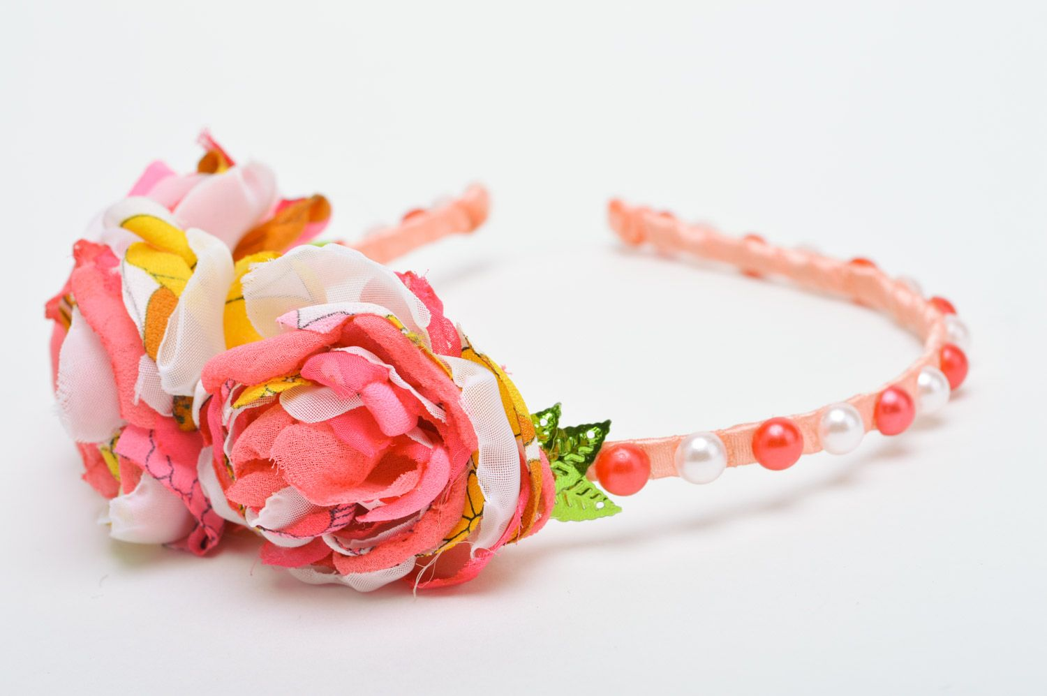 Feminine handmade headband with fabric flowers and beads in pink color palette photo 4