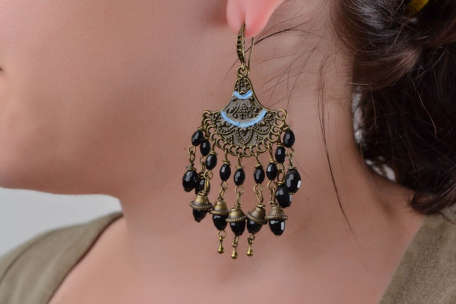 Handmade massive earrings accessory in Eastern style beautiful earrings photo 1
