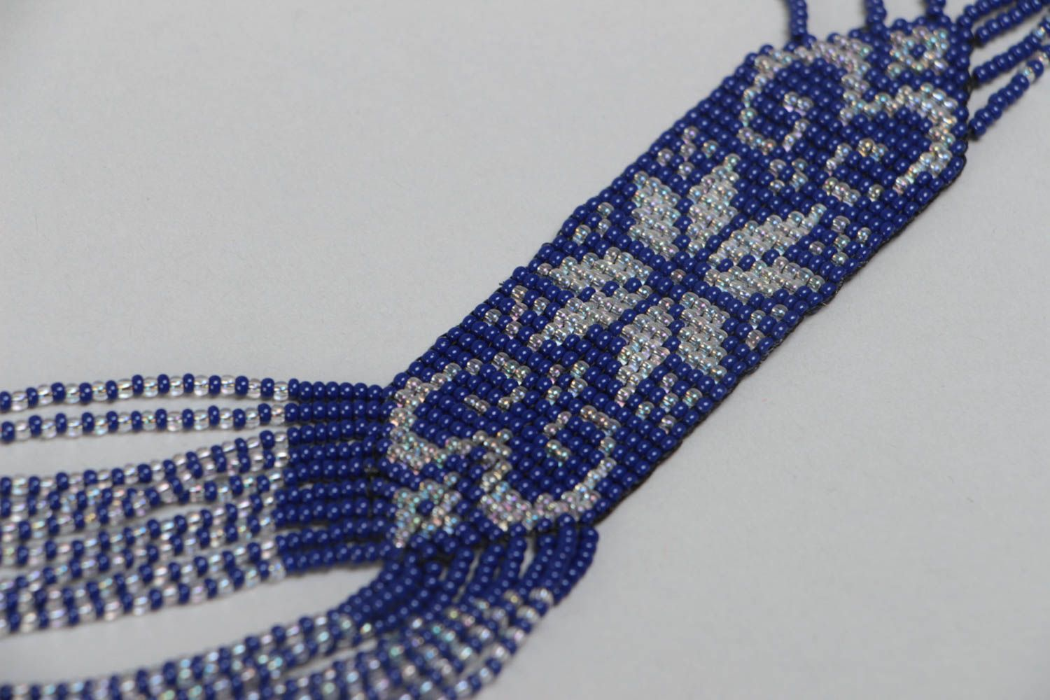 Handmade ethnic long beaded necklace with ornament in blue color for women photo 3