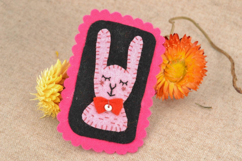 Felt badge textile brooch Hare photo 1