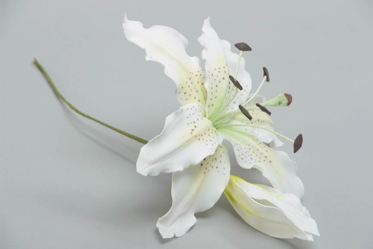 Handmade artificial foamiran flower white lily for interior decoration photo 2