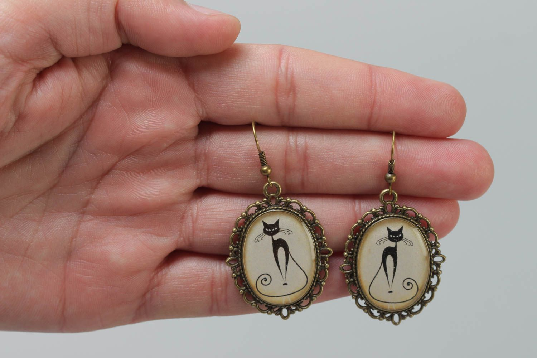 Vintage Ohrringe aus Glasur oval stilvoll handgemacht mit Katzenmuster  foto 5