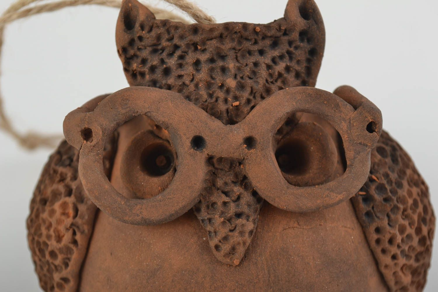 Handmade clay bell in shape of owl wall pendant on lace photo 4