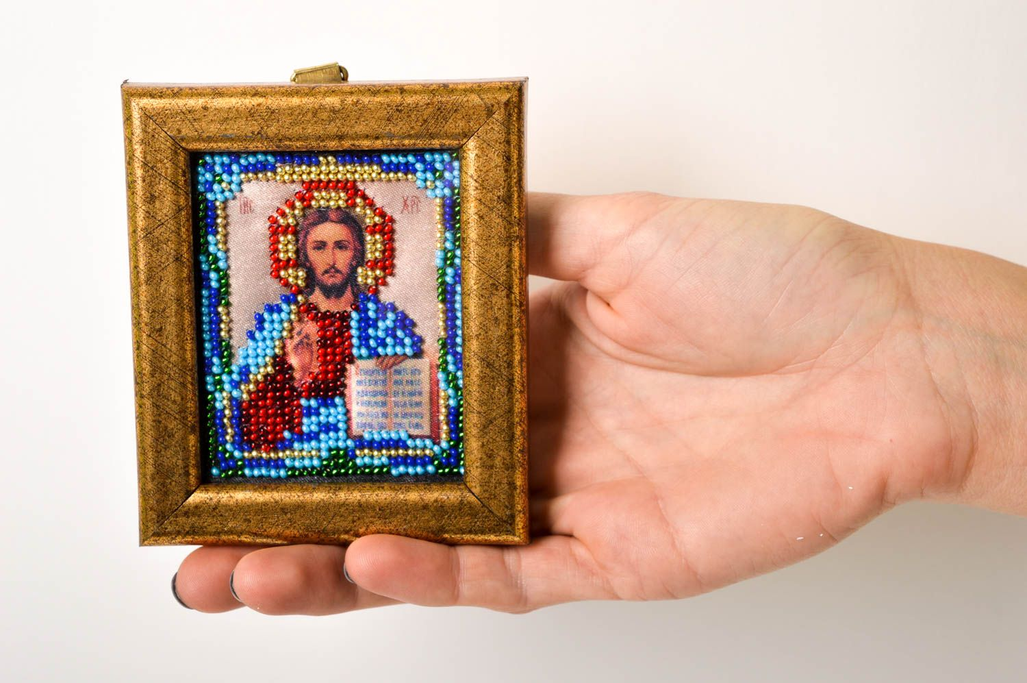 Handmade beautiful icon beaded icon in frame small orthodox icon present photo 5