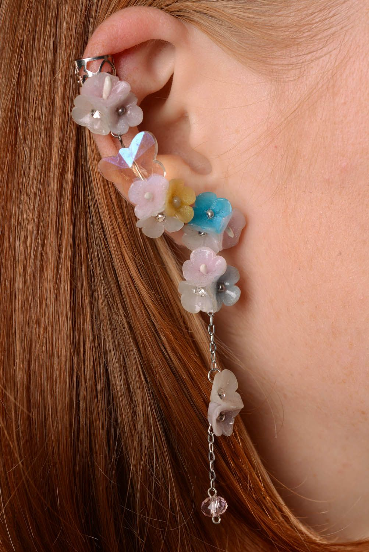 Polymer clay cuff earrings Dew Drop photo 3