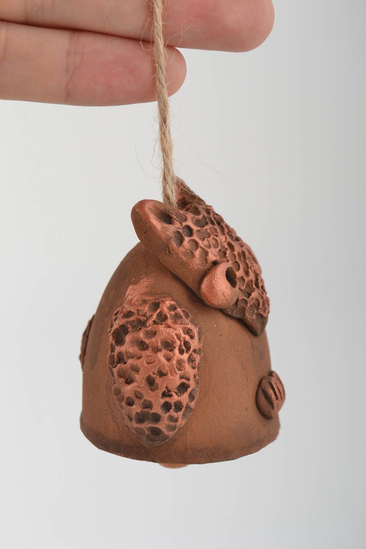 Beautiful brown handmade designer painted ceramic bell Owl photo 2