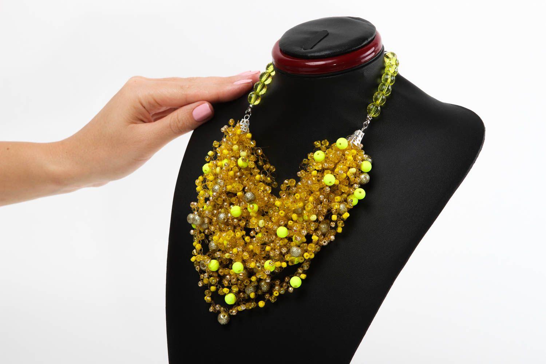 técnica mezclada Collar original hecho a mano color amarillo bisutería artesanal regalo original , MADEheart.