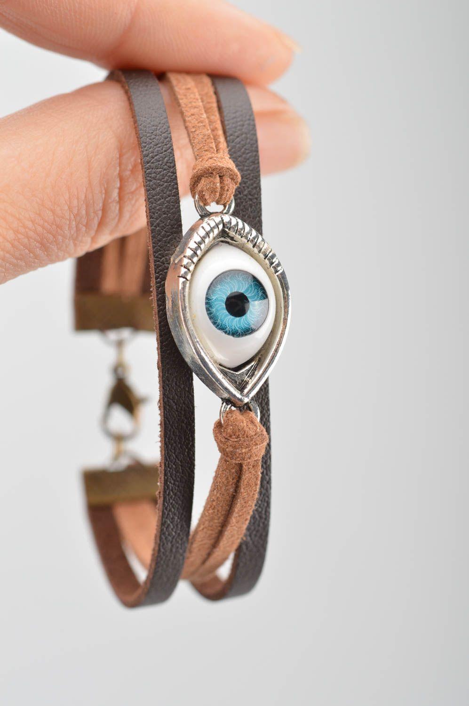 Handmade leather bracelet against the evil eye unisex designer accessory photo 3
