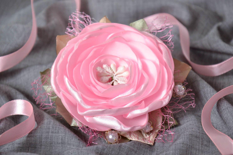 Pink satin brooch photo 1