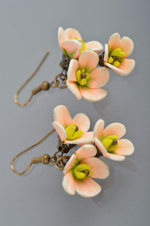 Handmade designer dangling earrings with polymer clay tender flowers photo 5