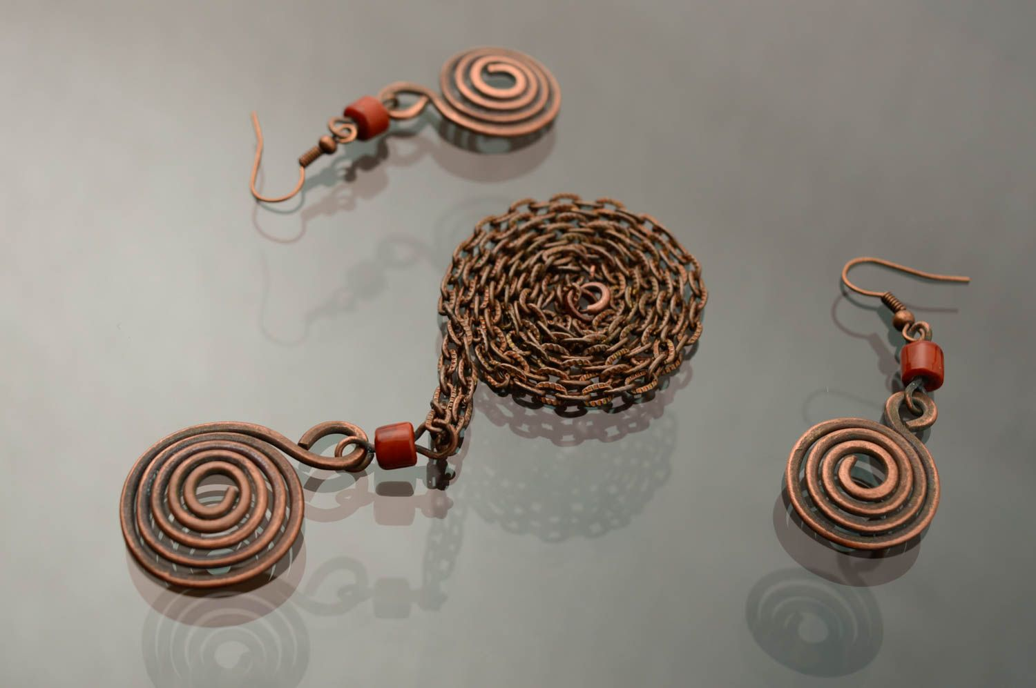 Wire wrap copper jewelry set of earrings and pendant Dunes photo 1