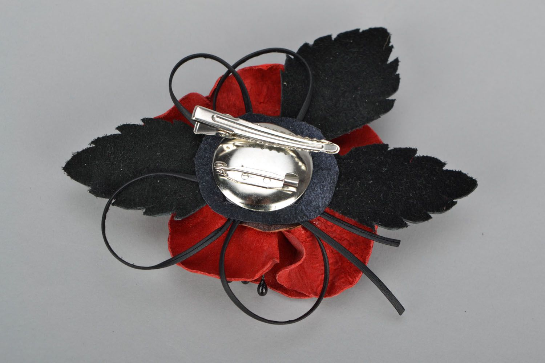 Poppy flower brooch photo 5
