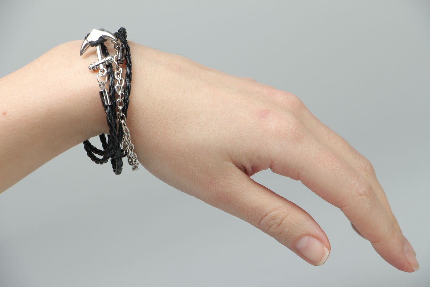 Handmade woven bracelet made of artificial leather Anchor photo 3