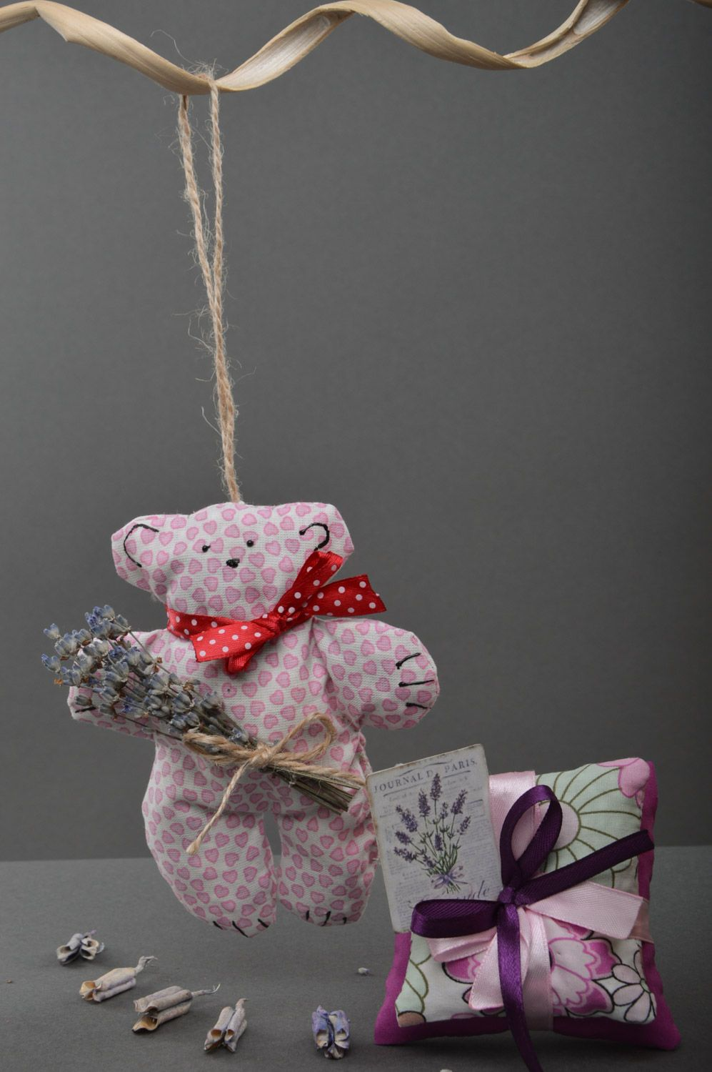Set of handmade sachet pillows with herbs and soft fabric toy bear 3 items photo 1