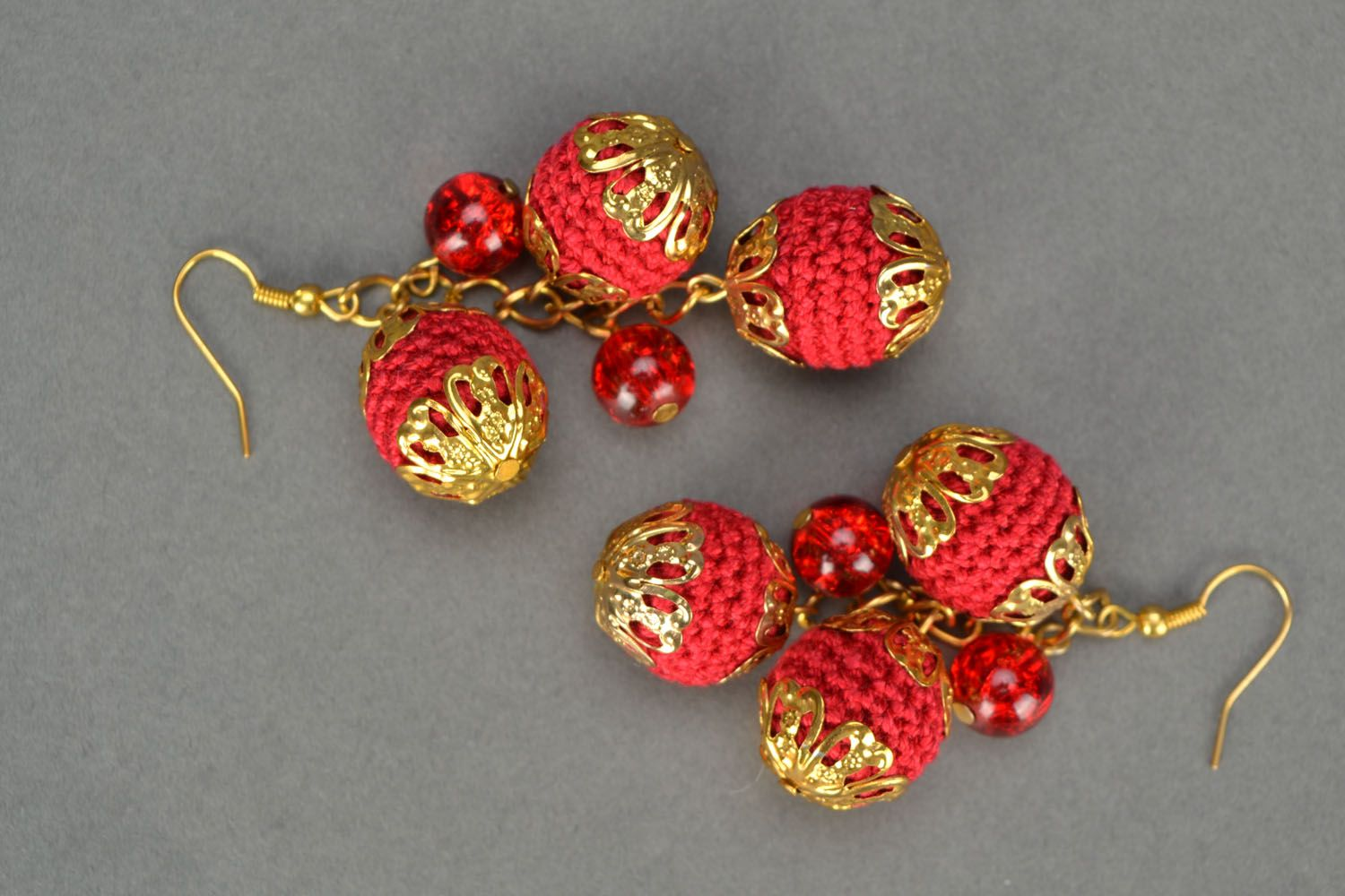 Crochet earrings with charms Cherry Glamor photo 3