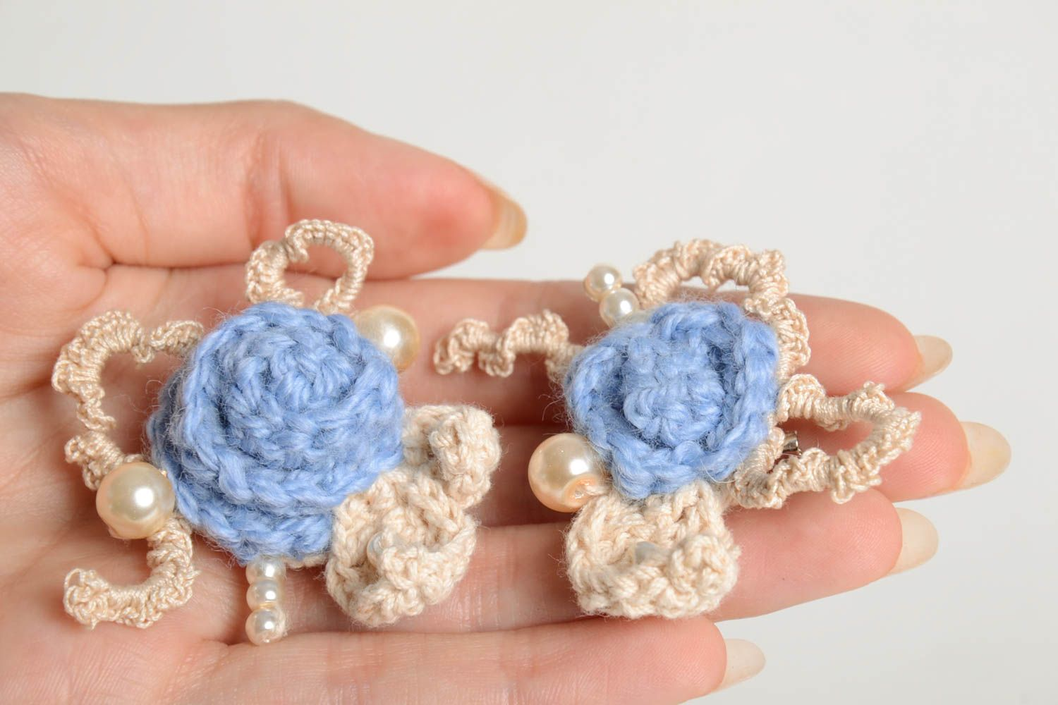 Fabric brooch handmade crocheted brooch textile brooches fashion accessories photo 4