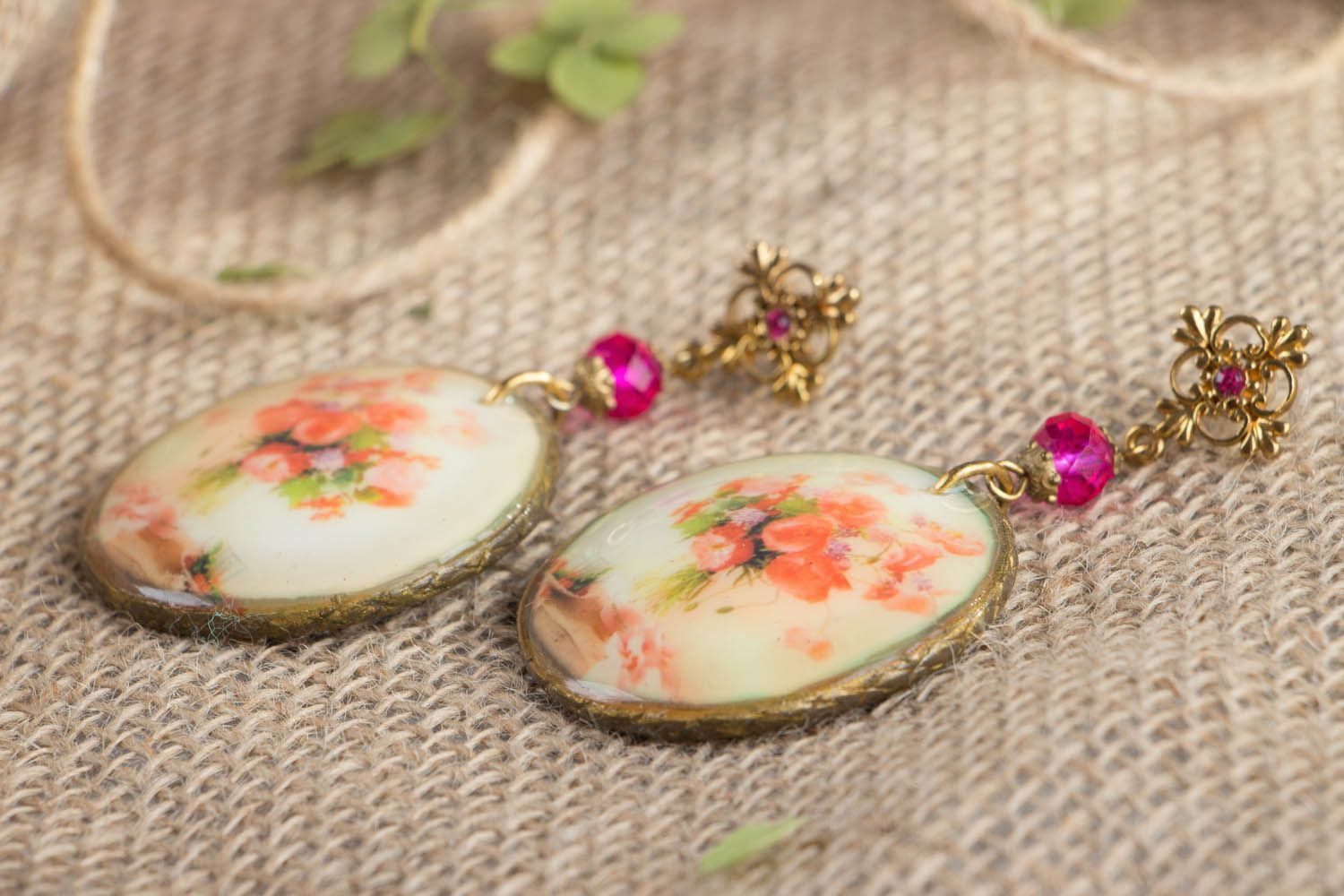 Vintage earrings made using decoupage technique photo 2