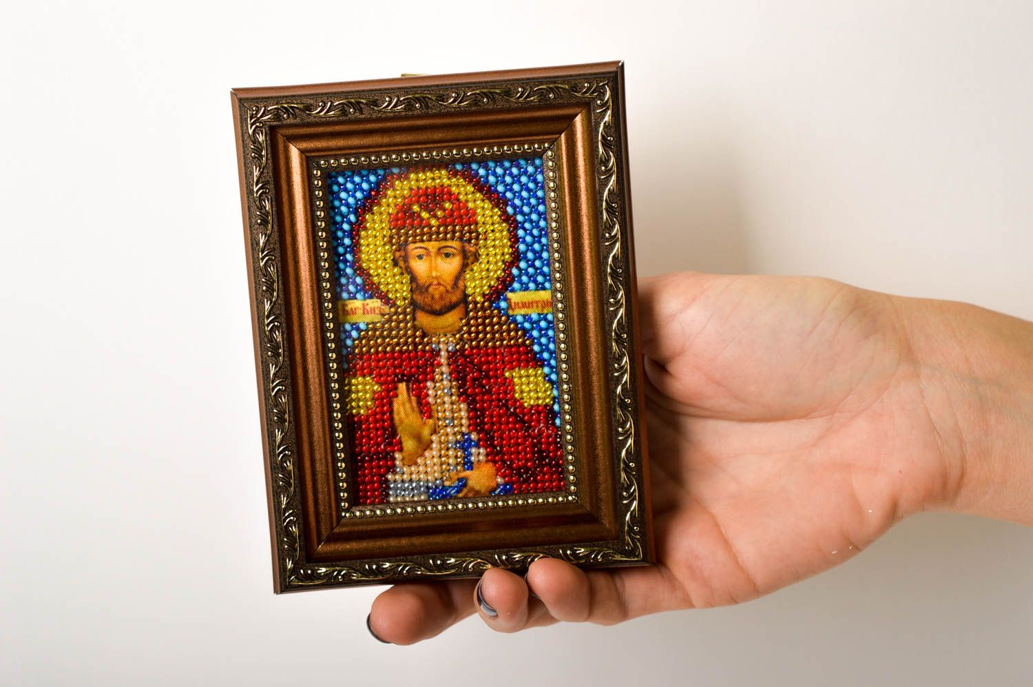 embroidery with beads Handmade beautiful icon unusual embroidered icon beaded orthodox present - MADEheart.com