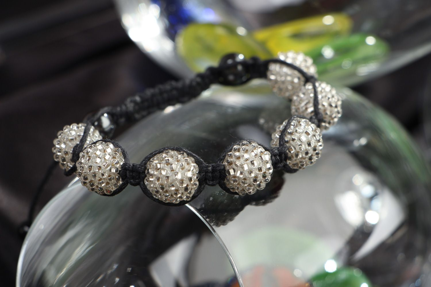 Handmade black and white friendship bracelet woven of waxed cord and beads  photo 4