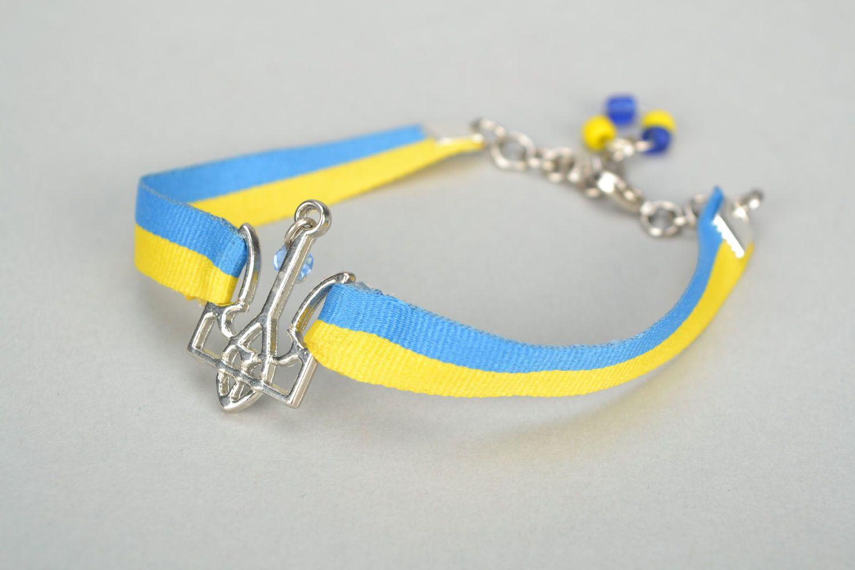 Gelb blaues Armband aus Textil foto 4