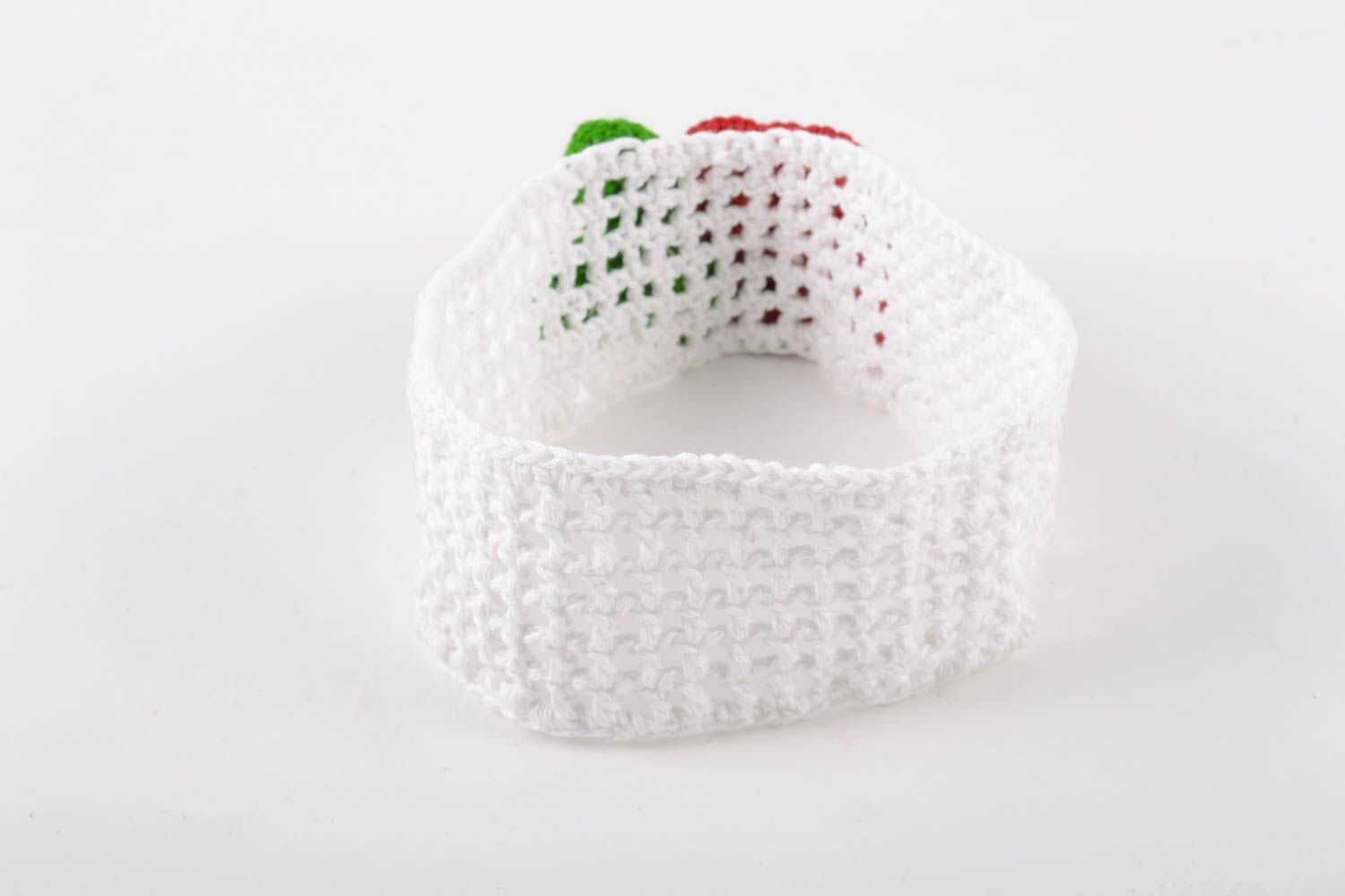 Handmade wide lacy crochet white headband with volume red flower for baby girl photo 4